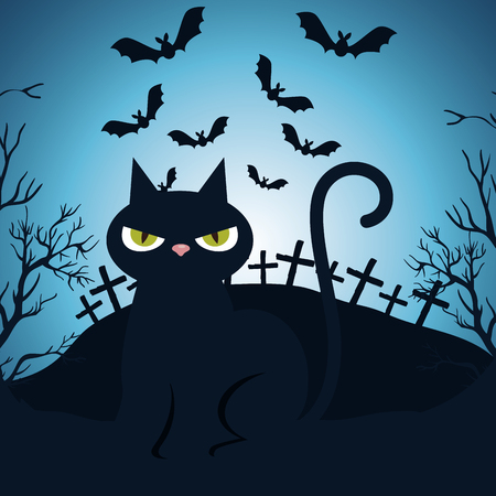 halloween night cemetery with cat scene vector illustration design