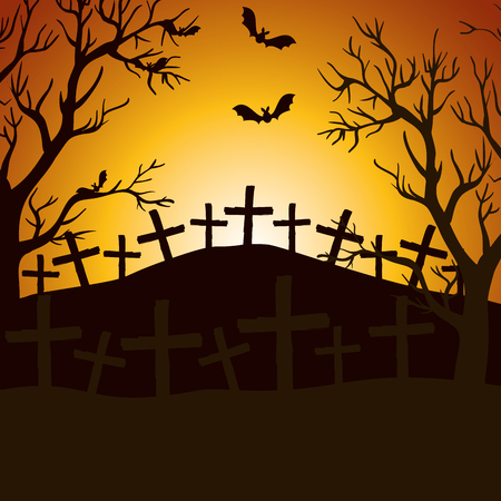 halloween night cemetery scene vector illustration design 일러스트