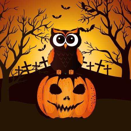 halloween night cemetery with pumpkin scene vector illustration design
