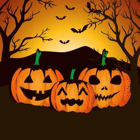 halloween night cemetery with pumpkins scene vector illustration design Ilustração