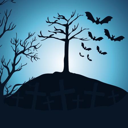 halloween night cemetery scene vector illustration design 向量圖像