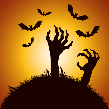 halloween night cemetery with sombie hands vector illustration design