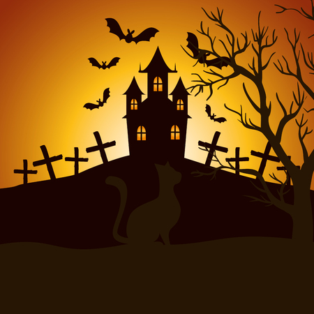 halloween enchanted castle on the night vector illustration design