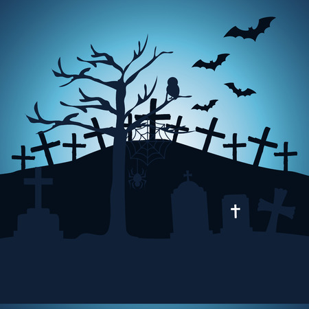 halloween night cemetery scene vector illustration design Ilustração