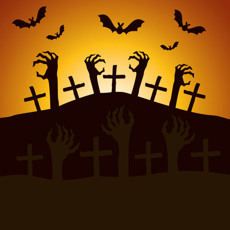 halloween night cemetery with sombie hands vector illustration design