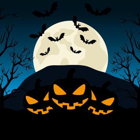 halloween night cemetery with pumpkins scene vector illustration design 일러스트