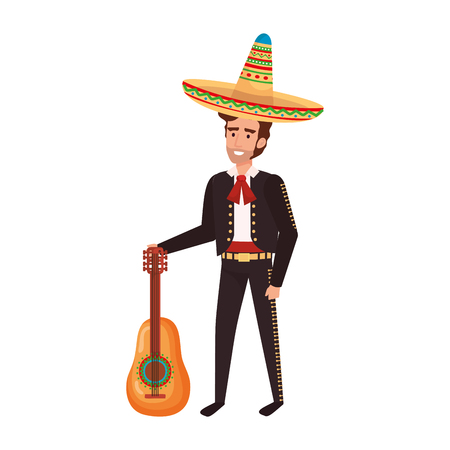 traditional mexican mariachi with guitar vector illustration design 写真素材 - 109687313