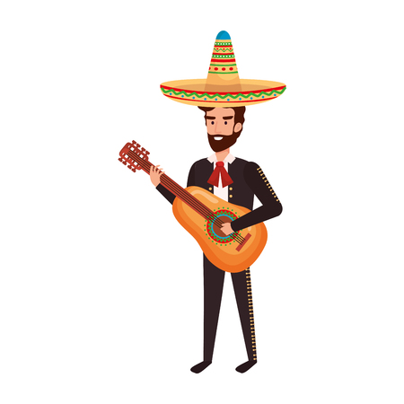 traditional mexican mariachi with guitar vector illustration design 写真素材 - 109687315