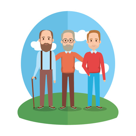 group old men avatars characters vector illustration design