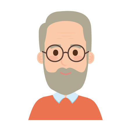 old man with beard and glasses avatar character vector illustration design Иллюстрация