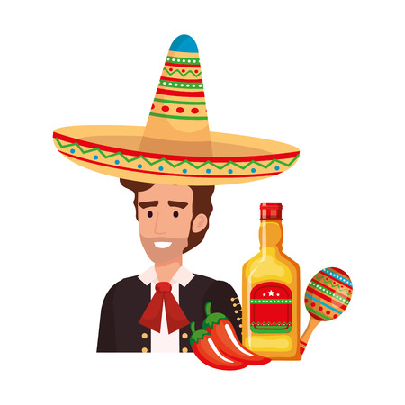 mexican mariachi with tequila and maracas vector illustration design