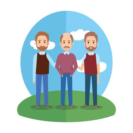 group old men avatars characters vector illustration design