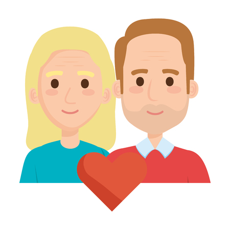 old couple lovers with heart avatars characters vector illustration design