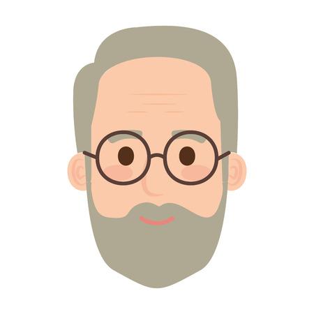 head old man with beard and glasses avatar character vector illustration Illusztráció
