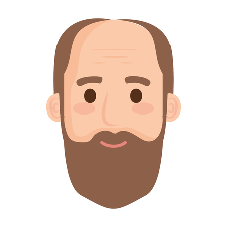 head old man bald with beard avatar character vector illustration design Vettoriali