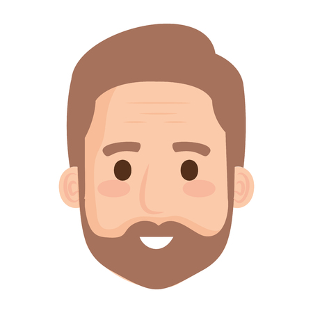 head old man with beard avatar character vector illustration design