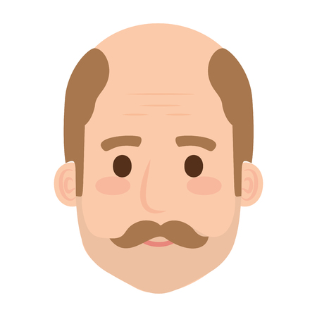 head old man bald with mustache avatar character vector illustration design