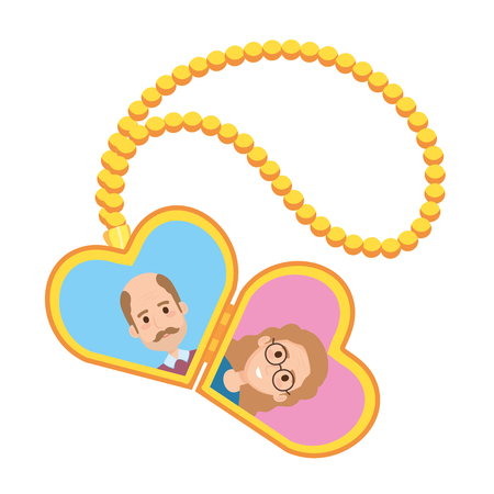 necklace of hearts with photo of elderly couple vector illustration design