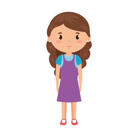 cute and little girl character vector illustration design 일러스트