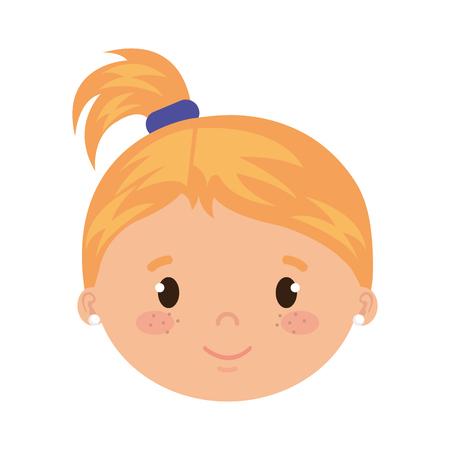 cute and little girl head character vector illustration design 일러스트