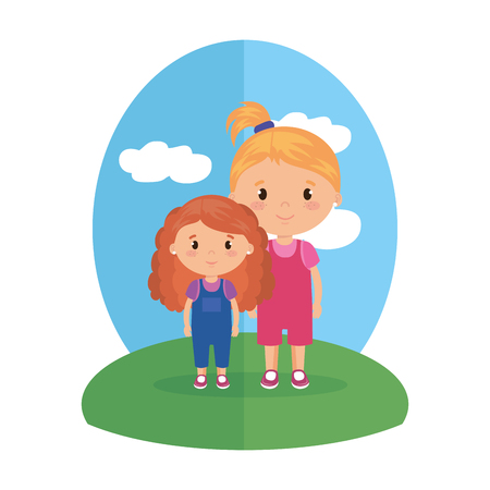 cute and little girls characters vector illustration design Stock Illustratie