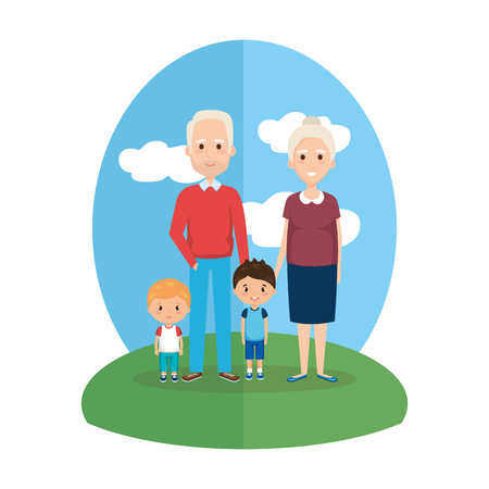 grandparents with grandsons characters vector illustration design