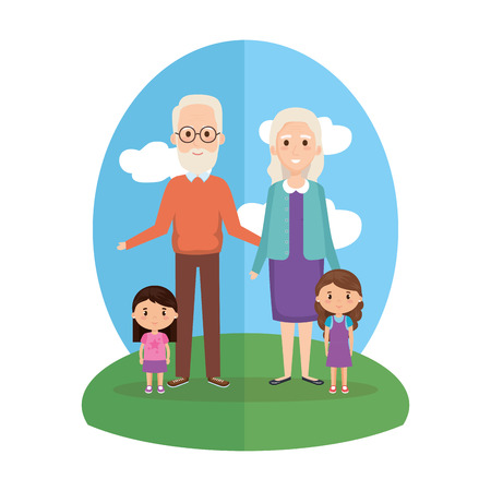grandparents with granddaughters characters vector illustration design Illustration