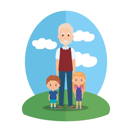 grandfather with grandson and granddaughter vector illustration design Illustration