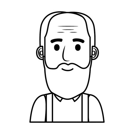 old man bald with beard avatar character vector illustration design