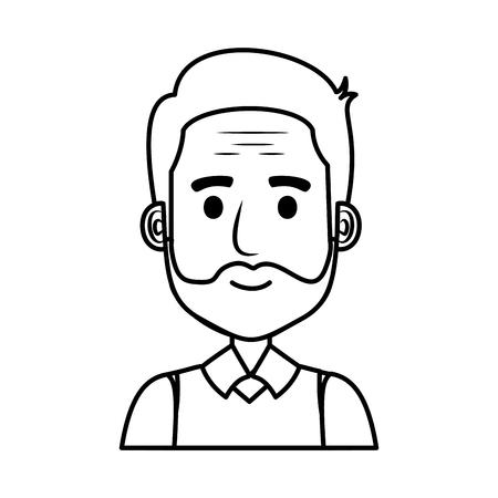 old man with beard avatar character vector illustration design
