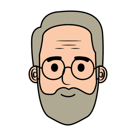 head old man with beard and glasses avatar character vector illustration Иллюстрация