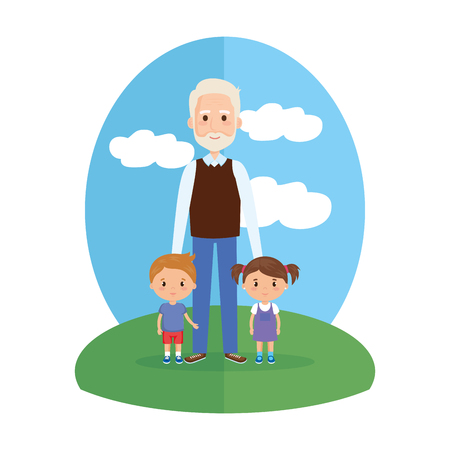 grandfather with grandson and granddaughter vector illustration design Ilustrace