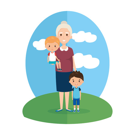 grandmother with grandsons characters vector illustration design