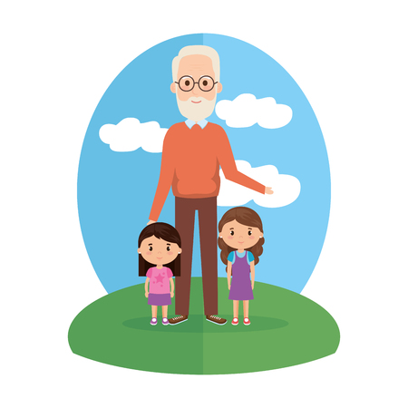 grandfather with granddaughters characters vector illustration design Illustration