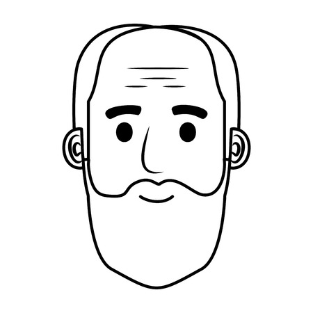 head old man bald with beard avatar character vector illustration design Фото со стока - 109687509