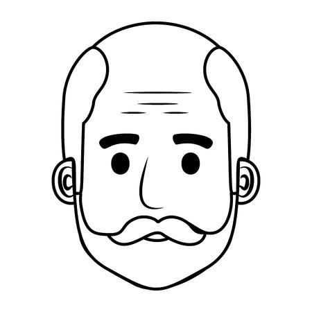 head old man bald with beard avatar character vector illustration design Illustration