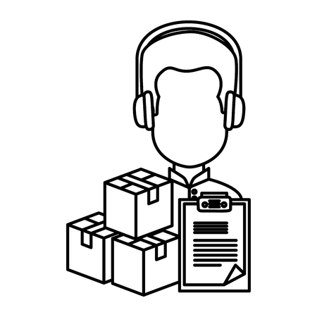 user avatar with headset and pileboxes vector illustration design
