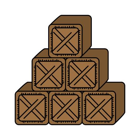 pile boxes wooden delivery service vector illustration design