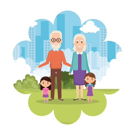 grandparents with granddaughters in park vector illustration design Illustration