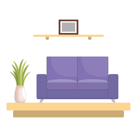 livingroom with sofa scene vector illustration design Stock Vector - 109687980