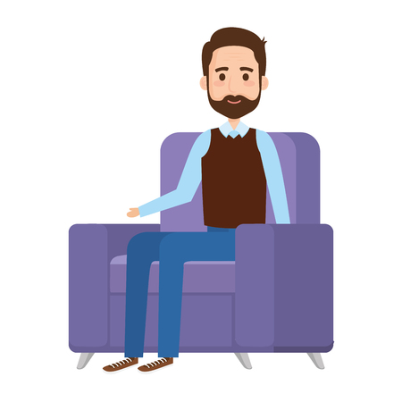old man in the sofa avatar character vector illustration design