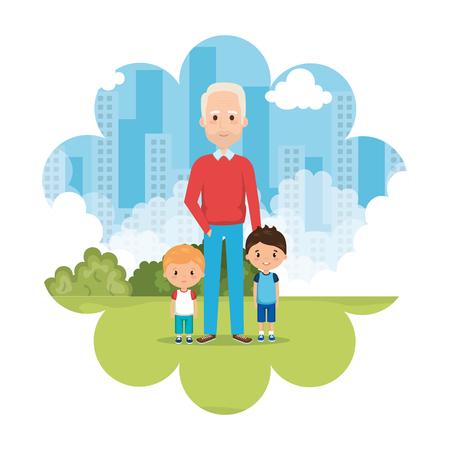 grandfather with grandson on park vector illustration design