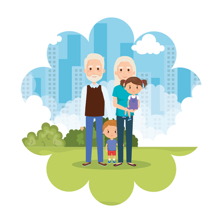 grandparents with grandson and granddaughter in park vector Ilustrace