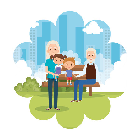 grandparents with grandson and granddaughter in park vector Illustration