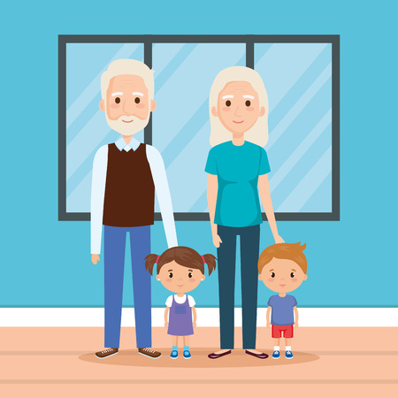 grandparents with grandson and granddaughter in house vector 스톡 콘텐츠 - 109687999
