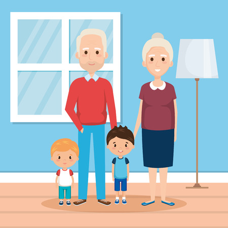 grandparents with grandsons in house vector illustration design Stock Illustratie