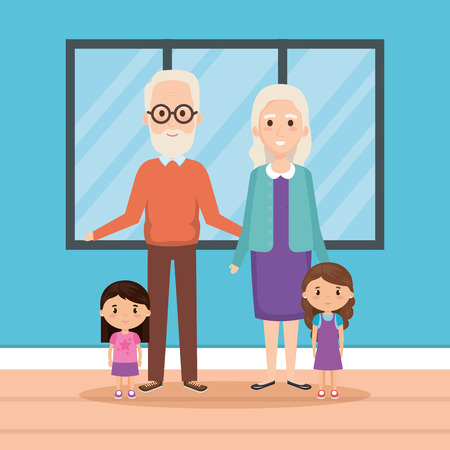 grandparents with granddaughters in house vector illustration design