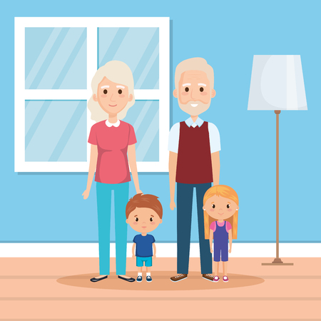 grandparents with grandson and granddaughter in house vector Illustration