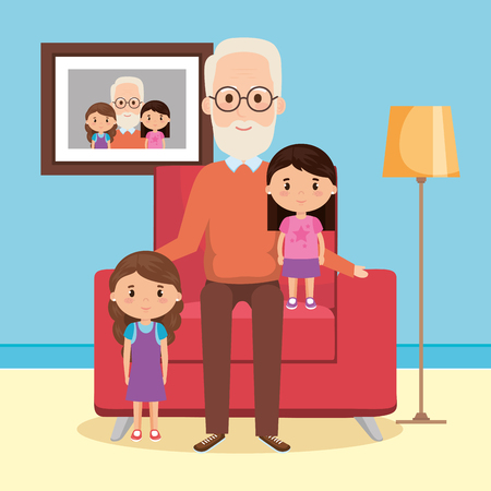 grandfather with granddaughters on livingroom vector illustration design Illustration