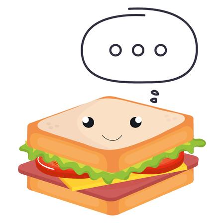 sandwish kawaii character with speech bubble vector illustration
